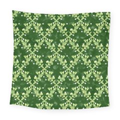 White Flowers Green Damask Square Tapestry (large)