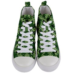 White Flowers Green Damask Women s Mid Top Canvas Sneakers