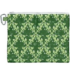 White Flowers Green Damask Canvas Cosmetic Bag (xxxl)