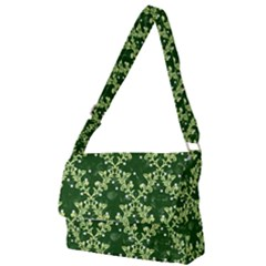 White Flowers Green Damask Full Print Messenger Bag