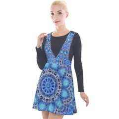 Fractal Mandala Abstract Plunge Pinafore Velour Dress