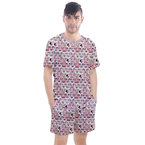 Graphic Seamless Pattern Pig Men s Mesh Tee And Shorts Set by Pakrebo