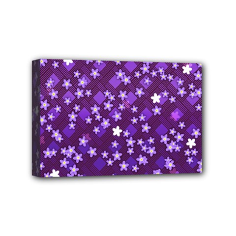 Textile Cross Pattern Square Mini Canvas 6  X 4  (stretched)