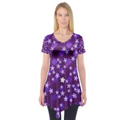 Textile Cross Pattern Square Short Sleeve Tunic
