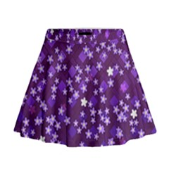 Textile Cross Pattern Square Mini Flare Skirt