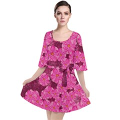 Cherry Blossoms Floral Design Velour Kimono Dress