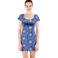 Floral Design Asia Seamless Pattern Short Sleeve Bodycon Dress