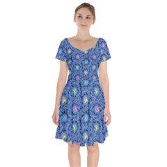 Floral Design Asia Seamless Pattern Short Sleeve Bardot Dress