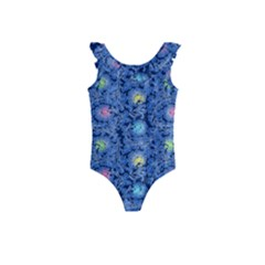 Floral Design Asia Seamless Pattern Kids  Frill Swimsuit