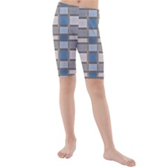 Abstract Seamless Fabric Blue Kids  Mid Length Swim Shorts