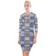 Abstract Seamless Fabric Blue Quarter Sleeve Hood Bodycon Dress