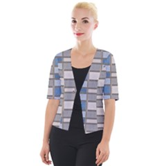 Abstract Seamless Fabric Blue Cropped Button Cardigan