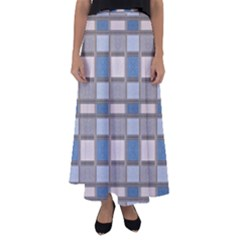 Abstract Seamless Fabric Blue Flared Maxi Skirt