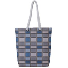 Abstract Seamless Fabric Blue Full Print Rope Handle Tote (small)