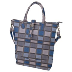 Abstract Seamless Fabric Blue Buckle Top Tote Bag