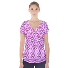 Paulownia Flowers Japanese Style Short Sleeve Front Detail Top