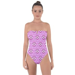 Paulownia Flowers Japanese Style Tie Back One Piece Swimsuit