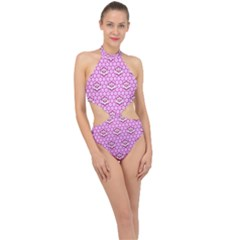 Paulownia Flowers Japanese Style Halter Side Cut Swimsuit