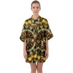 Pattern Abstract Background Art Quarter Sleeve Kimono Robe