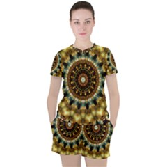 Pattern Abstract Background Art Women s Tee And Shorts Set by Pakrebo