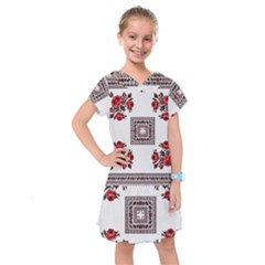 Ornament Pattern Background Design Kids  Drop Waist Dress by Pakrebo