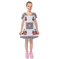 Ornament Pattern Background Design Kids  Short Sleeve Velvet Dress