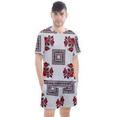 Ornament Pattern Background Design Men s Mesh Tee And Shorts Set