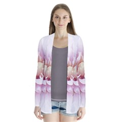 Abstract Transparent Image Flower Drape Collar Cardigan by Pakrebo