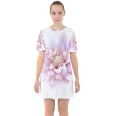 Abstract Transparent Image Flower Sixties Short Sleeve Mini Dress