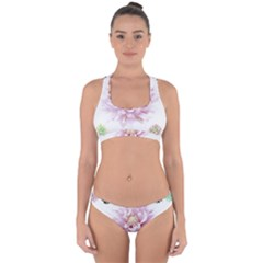 Abstract Transparent Image Flower Cross Back Hipster Bikini Set