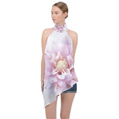 Abstract Transparent Image Flower Halter Asymmetric Satin Top by Pakrebo