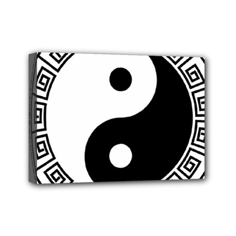 Yin Yang Eastern Asian Philosophy Mini Canvas 7  X 5  (stretched)