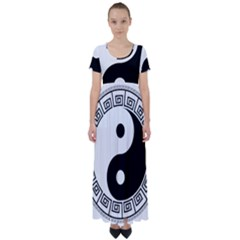 Yin Yang Eastern Asian Philosophy High Waist Short Sleeve Maxi Dress by Pakrebo