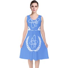 Flag Of Iaea V Neck Midi Sleeveless Dress
