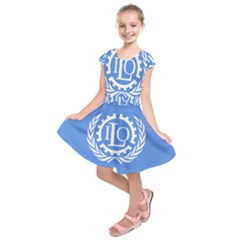 Flag Of International Labour Organization Kids  Short Sleeve Dress by abbeyz71