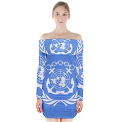 Flag Of International Maritime Organization Long Sleeve Off Shoulder Dress