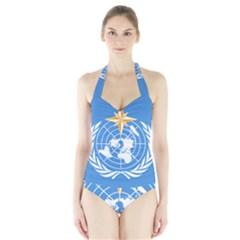 Flag Of World Meteorological Organization Halter Swimsuit by abbeyz71