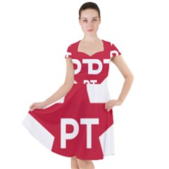 Logo Of Brazil Workers Party Cap Sleeve Midi Dress