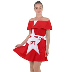 Flag Of Brazil Workers Party Off Shoulder Velour Dress