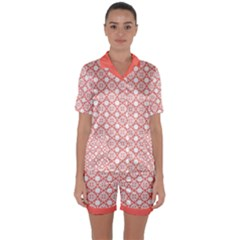 The Web  Satin Short Sleeve Pyjamas Set by TimelessFashion
