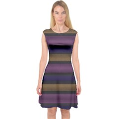 Stripes Pink Yellow Purple Grey Capsleeve Midi Dress