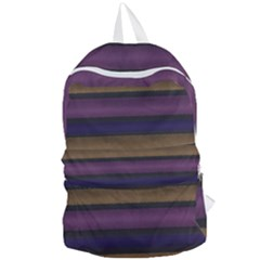 Stripes Pink Yellow Purple Grey Foldable Lightweight Backpack by BrightVibesDesign