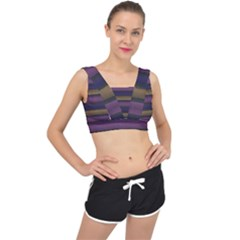 Stripes Pink Yellow Purple Grey V Back Sports Bra by BrightVibesDesign