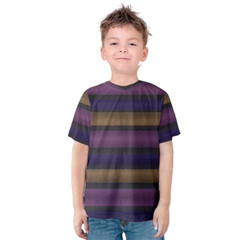 Stripes Pink Yellow Purple Grey Kids  Cotton Tee by BrightVibesDesign
