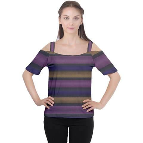 Stripes Pink Yellow Purple Grey Cutout Shoulder Tee by BrightVibesDesign