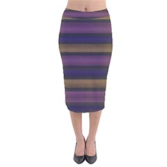 Stripes Pink Yellow Purple Grey Velvet Midi Pencil Skirt by BrightVibesDesign