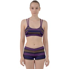 Stripes Pink Yellow Purple Grey Perfect Fit Gym Set by BrightVibesDesign
