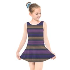 Stripes Pink Yellow Purple Grey Kids  Skater Dress Swimsuit by BrightVibesDesign