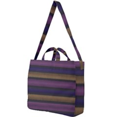 Stripes Pink Yellow Purple Grey Square Shoulder Tote Bag