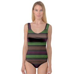 Stripes Green Brown Pink Grey Princess Tank Leotard  by BrightVibesDesign